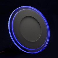RECESSED ROUND CHROME MIRROR BLUE EDGE LIT LED PANEL LIGHT